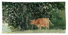 Cow In Pasture Beach Towel by Winslow Homer