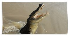 Salt Water Crocodile 2 Beach Towel by Bob Christopher