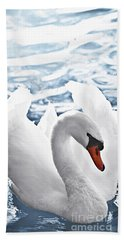 White Swan On Water Beach Towel by Elena Elisseeva