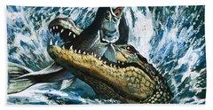 Alligator Eating Fish Beach Sheet by English School