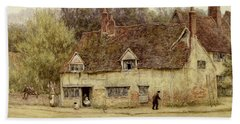 By The Old Cottage Beach Towel by Helen Allingham