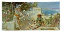 Children By The Mediterranean  Beach Sheet by William Stephen Coleman