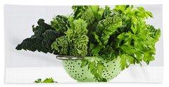 Dark Green Leafy Vegetables In Colander Beach Towel by Elena Elisseeva