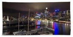 Darling Harbor Sydney Skyline 2 Beach Sheet by Douglas Barnard