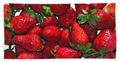 Deliciously Sweet Strawberries Beach Towel by Kaye Menner