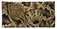 Eastern Diamondback Rattlesnake Beach Towel by Gerry Ellis