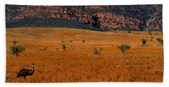 Emu Dreaming Beach Sheet by Bruce J Robinson