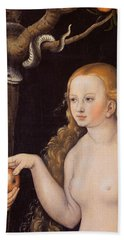 Eve Offering The Apple To Adam In The Garden Of Eden And The Serpent Beach Sheet by Cranach