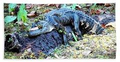 Hard Day In The Swamp - Digital Art Beach Towel by Carol Groenen