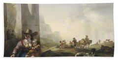 Italian Peasants Among Ruins Beach Sheet by Jan Weenix