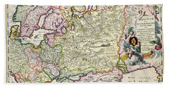 Map Of Asia Minor Beach Towel by Nicolaes Visscher