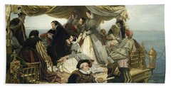 Mary Stuart's Farewell To France Beach Sheet by Henry Nelson O Neil