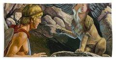 Oedipus Encountering The Sphinx Beach Towel by Roger Payne