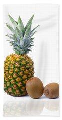 Pineapple And Kiwis Beach Sheet by Carlos Caetano