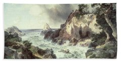Point Lobos At Monterey In California Beach Sheet by Thomas Moran