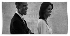 President Obama And First Lady Bw Beach Sheet by David Dehner
