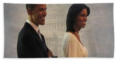 President Obama And First Lady Beach Sheet by David Dehner