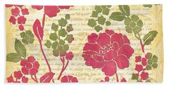 Raspberry Sorbet Floral 1 Beach Towel by Debbie DeWitt