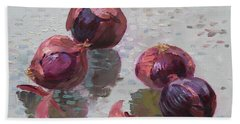 Red Onions Beach Towel by Ylli Haruni