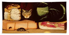 Still Life With Cat And Mouse Beach Towel by Anonymous