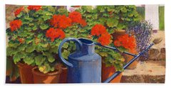 The Blue Watering Can Beach Towel by Anthony Rule