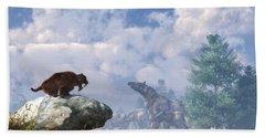 The Paraceratherium Migration Beach Towel by Daniel Eskridge
