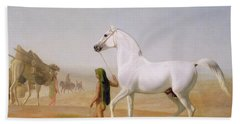 The Wellesley Grey Arabian Led Through The Desert Beach Towel by Jacques-Laurent Agasse