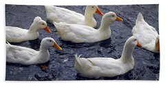 White Ducks Beach Towel by Elena Elisseeva