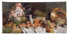 Still Life With Flowers And Fruit On A Table Beach Towel by Alfred Petit