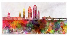 Austin Skyline In Watercolor Background Beach Towel by Pablo Romero
