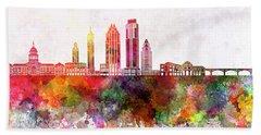 Austin Skyline In Watercolor Background Beach Sheet by Pablo Romero