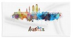 Austin Skyline In Watercolor Beach Towel by Pablo Romero