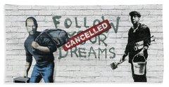 Banksy - The Tribute - Follow Your Dreams - Steve Jobs Beach Towel by Serge Averbukh