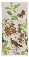 Brown Headed Worm Eating Warbler Beach Sheet by John James Audubon