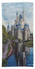 Cinderella Castle  Beach Towel by Charlotte Blanchard