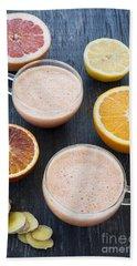 Citrus Smoothies Beach Sheet by Elena Elisseeva