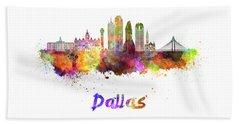 Dallas Skyline In Watercolor Beach Towel by Pablo Romero