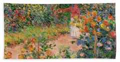 Garden At Giverny Beach Sheet by Claude Monet