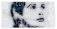Grace Kelly Movies In Words Beach Towel by Marvin Blaine
