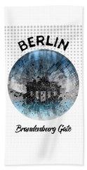Graphic Art Berlin Brandenburg Gate Beach Towel by Melanie Viola