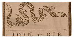 Join Or Die Beach Towel by War Is Hell Store