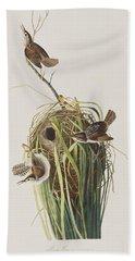 Marsh Wren  Beach Towel by John James Audubon