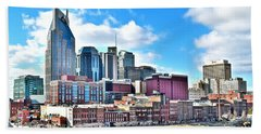 Nashville From Above Beach Sheet by Frozen in Time Fine Art Photography