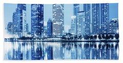 Night Scenes Of City Beach Sheet by Setsiri Silapasuwanchai