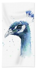 Peacock Watercolor Beach Towel by Olga Shvartsur