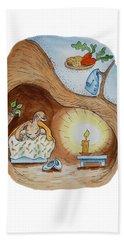Peter Rabbit And His Dream Beach Towel by Irina Sztukowski