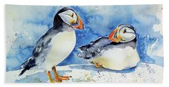 Puffins Beach Sheet by Kovacs Anna Brigitta