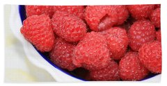 Raspberries In Polish Pottery Bowl Beach Sheet by Carol Groenen
