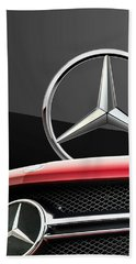 Red Mercedes - Front Grill Ornament And 3 D Badge On Black Beach Towel by Serge Averbukh