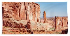 Beach Sheet featuring the photograph Sandstone Butte And Canyon Floor, Arches National Park, Moab, Ut by A Gurmankin